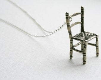 Silver Chair Tiny Storytelling Wishing Chair Charm Necklace