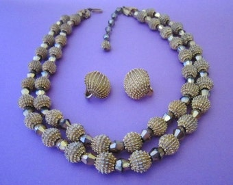 Trifari Bead Necklace and Earrings Set 1960s Electra