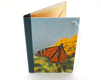 Refillable Journal Cover, Monarch Butterfly, Vintage Book Cover
