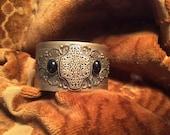DESTASH, Vintage Gold Bracelet, Vintage Buckle, Victorian Cuff Bracelet, Vintage Filigree, Black Onyx Bracelet, Medallion, Gold Bracelet