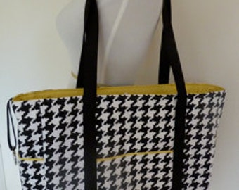 Boxy Tote Diaper Bag Black White Large Houndstooth