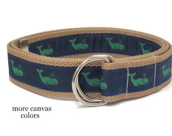 Preppy Whale Belt Child Canvas Belt / Navy D Ring Belt / Green Whale Ribbon Belt / Webbing Belt for Boys Girls and Toddlers