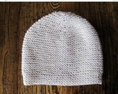 Sale HIVE MIND Hand Knit Cap in Merino Wool & Cotton - Calm Winter Colors in Pink Lavender, Cloud Grey, and White