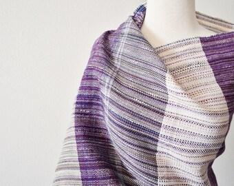 Patchwork Scrap Shawl - Multi Thread Handwoven Bohemian Fringed Hand-Hemmed Wrap - Purple, Ecru, Grey, Fawn, Multi Color, Multitexture