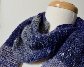 Purple & Grey Scarf in Soft Wool and Silk - Hand Blended, Handspun, Handknit, One of a Kind, Textured, Sparkly Circle Scarf