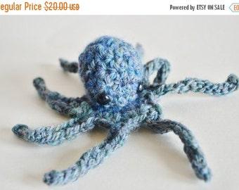 Sale Small Octopus Ornament. Octopus in Handspun Blue Green Wool. Blue Green Heather, Small Octopus, Tentacles, Nautical, Ocean Amigurumi.