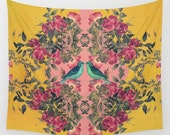 pretty love birds fabric wall tapestry- yellow- pink- nature- flowers- birds- wall art- boho chic wall decor- colorful wall hanging