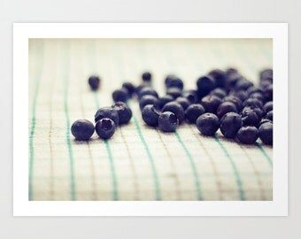 food photography- blueberries- blue- white- Sweet and Tart fine art photograph- modern kitchen decor- home and living- foodie art