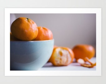 still life photo orange blue - food photography- Orange Delicious fine art photograph- for foodies- kitchen decor- kitchen wall art