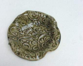Green trinket dish-prep bowl-sauce dish-pottery, ceramic dish-gift-handmade-in stock