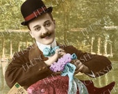 Frenchman in Retro Derby with Huge Fish Paris Park Customized Antique Postcard Digital Printable