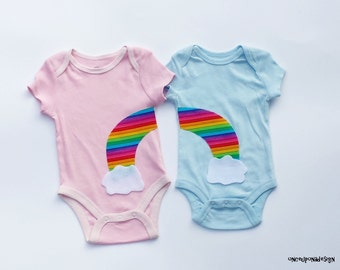 Rainbow And Clouds//Twins//Siblings//Brother//Sister//Fabric & Felt Iron On Appliques