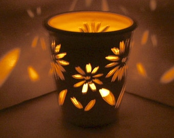 Ceramic Candle Holder/ Luminary Wheel Thrown, Hand Carved, Daisy