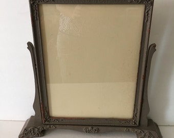 Antique Wooden Swing Frame  Picture Display Stand Alone Victorian Dresser Frame Distressed Taupe 10 X 13 inch Picture