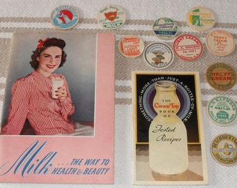 2 Vintage 1930's Milk Cream Pamphlet Cookbooks with 11 Bottle Cap Tops