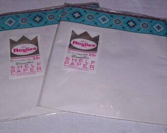 2 Vintage Mid Century Unused Packs Roylies Shelf Paper Liner Turquoise Blue Black Copper