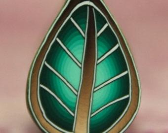 Green Polymer Clay Leaf Cane -'Ripple' series (38A)