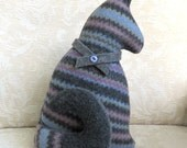 Gray Plush Cat, Repurposed Sweater Wool Stuffed Kitty Softie