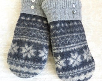 NEW! Repurposed Sweater Wool Mittens for Men, in Navy Blue and Gray, Size Large, Eco-Friendly Felted Wool Mittens