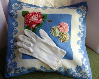 New Vintage Style Pillow, Applique Glove & Yo Yos