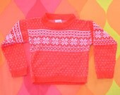 vintage 70s ski sweater SNOWFLAKE kid's children's 3 Small 3T toddler preppy 80s