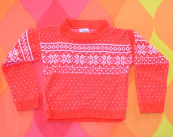 vintage 70s ski sweater SNOWFLAKE kid's children's 3 Small 3T toddler preppy 80s