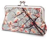 Pink blossom clutch bag, magnolia silk purse, bridesmaid clutch, flower bloom handbag