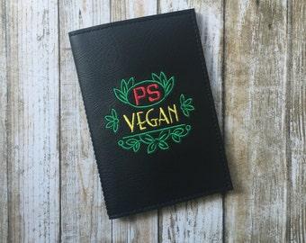 Monogram passport cover vegan vinyl - personalized travel gift - faux leather passport cover - vegan travel gift -gift for him or her