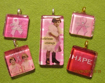 Breast Cancer Pink Ribbon Hope Glass Pendant for necklace For my BFF