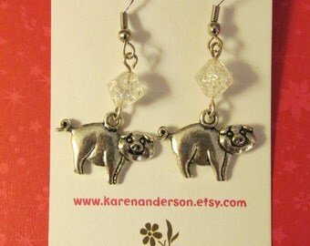 Pig charms silver dangle earrings with glass beads