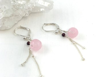 Pink Jade Earrings, Dainty Drop Earrings, Delicate Earrings Silver, Multi Gem Earrings, Silver Chain Earrings, Precious Gem Earrings