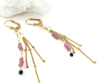 September Birthstone, Pink Sapphire, Dainty Drop Earrings, Multi Gem Earrings, Vermeil Earrings, Gold Gem Earrings, Precious Gem Earrings