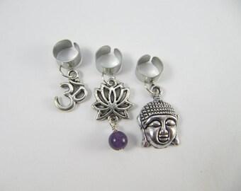 Buddha Dreadlock Cuff Charm Set, Dread Bead, Dread cuff, Earcuff