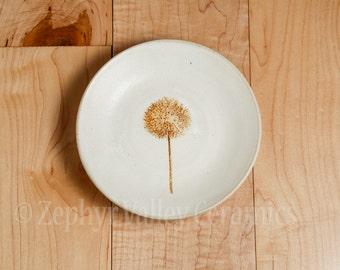 Ceramic Ring Dish - Tea Light Holder - Tea Bag Holder - Soap Dish - Handmade - Wheel Thrown - Botanical - Stoneware Trinket Dish - Dandelion