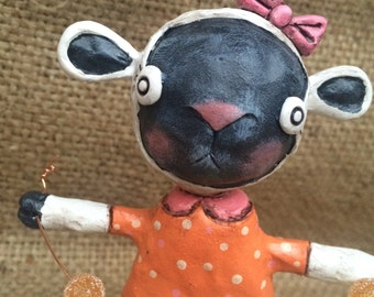 OOAK Orange and Pink Easter Lamb sculpture Ready to Ship