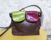 Brown Leather Shoulder Bag with Red and Green Flaps