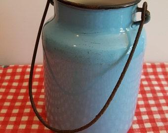 Vintage Sky Blue Enamel Milk Can with Handle