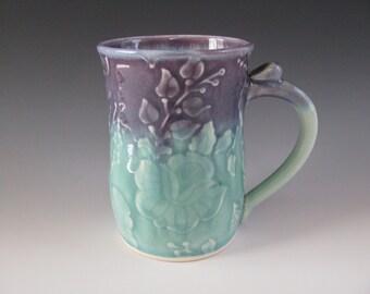 Ceramic Pottery Mug Textured Flowers Purple Turquoise