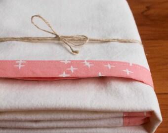 Baby Blanket, Pink Blanket, Newborn Baby Gift, Stars Blanket, Soft Flannel Blanket, Candy Pink Nursery, Organic Handmade Baby Blanket