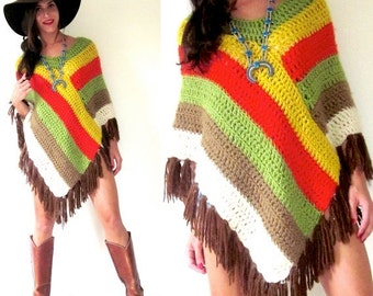 SALE SECTION / 40% OFF Vintage 60s 70s Multicolored Striped Crocheted Fringe Poncho