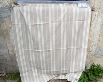 "Vintage Antique 1900 old French mattress ticking cotton fabric  beige/ ecru 53 "" x 38 """