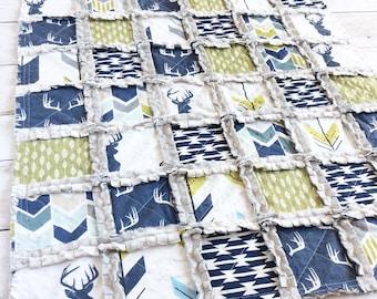 Woodland Deer Quilt - Stag Quilt - Antler Quilt - Arrow Quilt - Arrow Bedding - Baby Boy Quilt - Baby Boy Bedding - Woodland Nursery