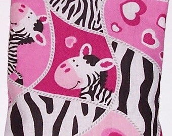CLEARANCE - Children's Heating Pad -  Removable Cover, Boo Bag, Ouchie Pack, Pink Zebra Flannel Fabric - Flaxseed Rice Mix - Unscented