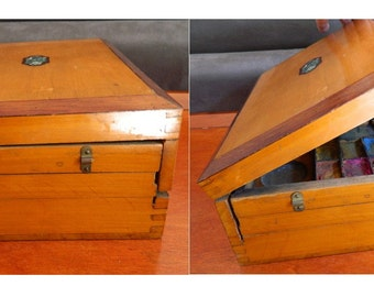 Antique Blank French Artist Watercolors  Box - Watercolor Wooden Box . Folding watercolors box