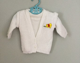 Vintage 80s Winnie the Pooh White Two Piece Sweater 9-12 months