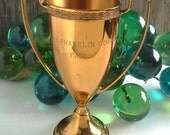 Gold Engraved Trophy Cup Benton Franklin County Fair Brass Metal Award
