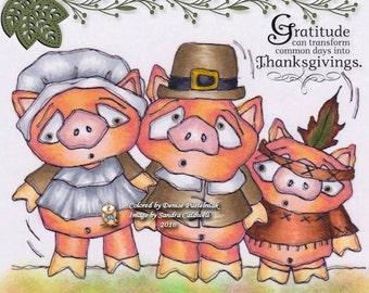 72 Pilgrim Piggies Digi Stamp