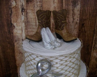 Custom Painted Cake Topper, Rustic, Western Cake Topper, Cowboy Boots-Wedding Cake Topper-Barn Wedding