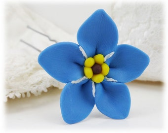 Forget Me Not Hair Flower - Blue Flower Hair Pins, Forget Me Not Hair Accessory