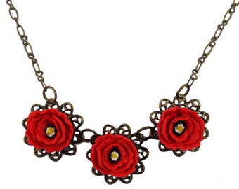 Three Red Poppy Necklace - Trio Poppy Jewelry Collection